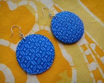 Blue Tile Pattern Batik Fabric Earrings African Tie Dye Boho Wax Print