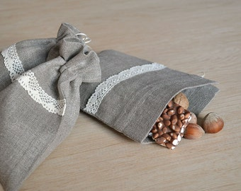 Linen Bags Sets of 10 Natural Pouch Gray Small Gift Bags Decorated With Lace, Eco Friendly Bags