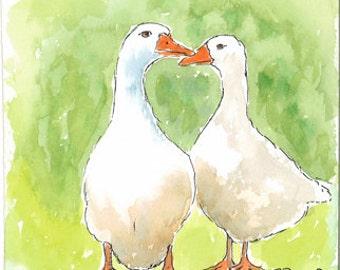 White geese greetings card