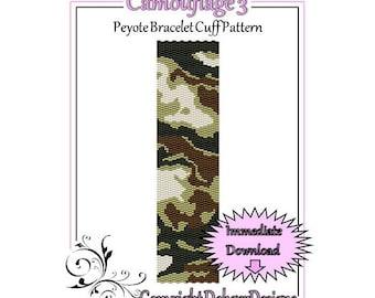 Bead Pattern Peyote(Bracelet Cuff)-Camouflage 3