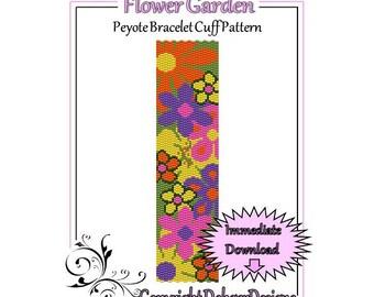 Bead Pattern Peyote(Bracelet Cuff)-Flower Garden