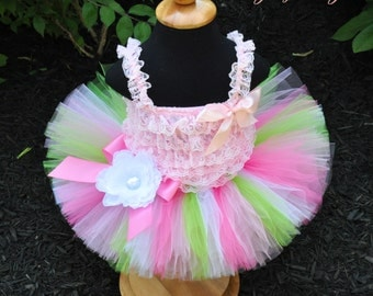 Pastel Pink White and Lime Easter Tutu...First Birthday Tutu, Portrait Tutu...Newborn to Adult Tutu Sizes. . . SUGAR PIE