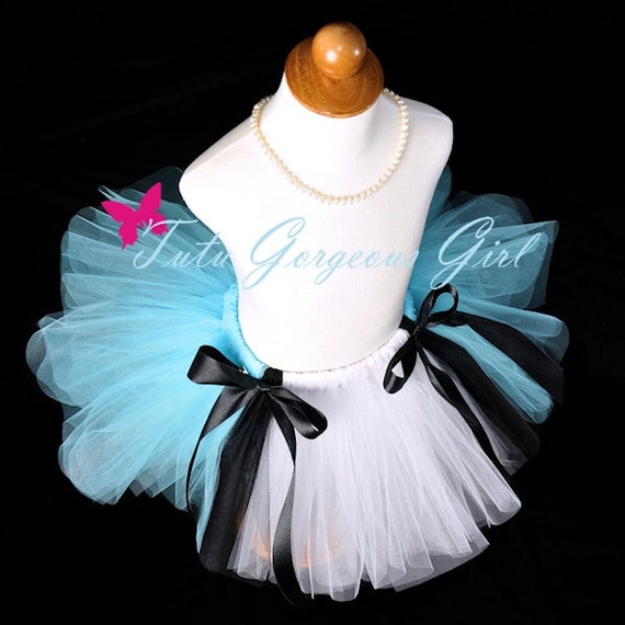 Alice In Wonderland Tutu...Tea Party Birthday Tutu...Light Blue, White and Black Mad Hatter Halloween Tutu...Baby, Toddler, Girls Sizes