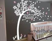 Wall Decals Nursery - Nursery wall decal - Tree Wall Decal - Tree and Name - Windy Tree Decal -  Baby Tree Decal - Monogram - Tree