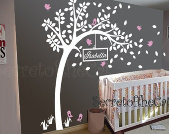 Wall Decals Nursery - Nursery wall decal - Tree Wall Decal - Tree and Name - Windy Tree Decal -  Baby Tree Decal - Monogram - Tree