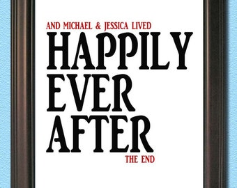 Personalized Couple Art- Happily Ever After- Digital 8x10 JPEG File