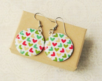 Hearts earrings  - red mint green earrings, resin earrings, jewelry, gift idea for her, Valentine's day print - made to order