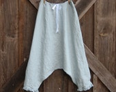 sareoul Thai fisherman linen boho tribal  skirt/pant or is it a pant/skirt in silver grey ready to ship