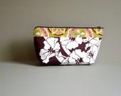 Cosmetic Bag. Mini Pouch. Makeup Bag. Travel Organizer. Ready To Ship. Cotton. Brown Pink Green  YKK Zipper. Bridal Gift.