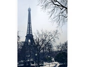 Paris photography - Eiffel Tower with snow, Winter, wintertime, sous la neige - 8x12, 10x15, 16x24 - Original Fine Art Photograph