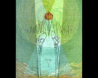 Magnetic Poles woodcut print