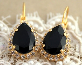 Black Earrings, Black Drop Earrings, Black Swarovski Crystal Earrings, Black Dangle Earrings, Black Gold Earrings, Black Crystal Earrings