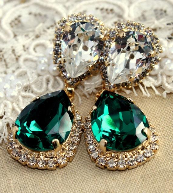 Emerald chandelier earring Estate earrings drop emerald