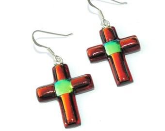 Cross Earrings, Fused Glass Jewelry, Dichroic Glass Earrings, Jesus Christ, Faith Hope Love, Red Orange (Item 30199-E)