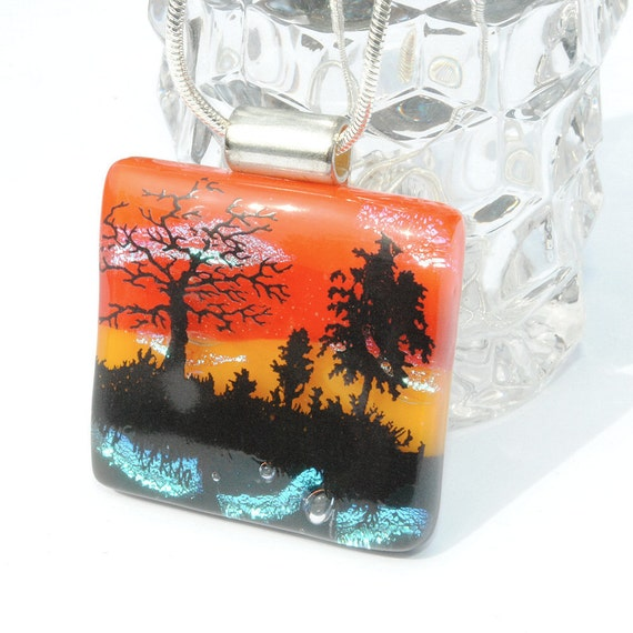 Woodland, Dichroic Glass Pendant, Fused Glass Jewelry, Sunset, Outdoors, Nature, Trees, Woodland (Item 10255-P)