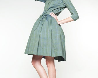 Green wool dress Green 50s dress Green 1950s dress Green tea length dress Mother of the bride dress in green Plus size dress Handmade dress