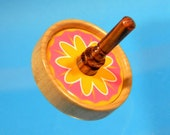Toy Spinning Top - with Pink and Yellow Flower Button - Handmade Wood Spin Top by Joshua Andra