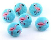 Pink Flamingos Thumbtacks  / Magnet /Push Pin / Fabric Button Electric Blue Retro Aqua / Message Board / Coworker Gift / Hostess Present  88