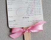 Wedding ceremony paddle fans, ceremony program, wedding program, custom colors, custom sample, wedding stationery