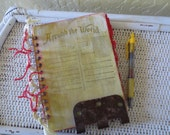 Upcycled Vintage Book Steam Punk Address Book in Green and Red