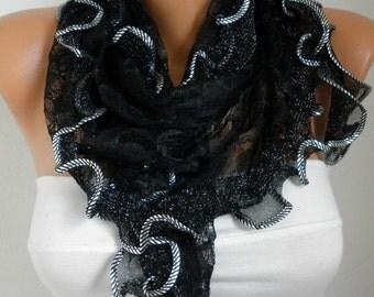 Black  Ruffle Lace Scarf ,Wedding Shawl,Bridal Scarf Cowl Scarf Bridesmaid Gift,Gift Ideas For Her, Women Fashion Accessories