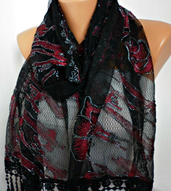 ON SALE - 50% OFF  Black Lace  Scarf - Shawl  Scarf - Cowl Scarf  with Lace Edge -  Red Roses