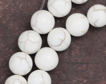 White Magnesite Beads - 8mm Round