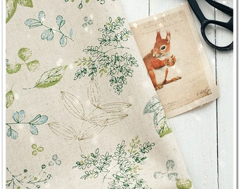 Cotton Linen Fabric Cloth -DIY Cloth Art Manual Cloth-Cute Leaves 55x19Inches