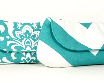 Bridesmaid Clutches Wedding Party Clutches Bridal Clutch Choose Your Fabric Aqua Teal Turquoise Set of 4