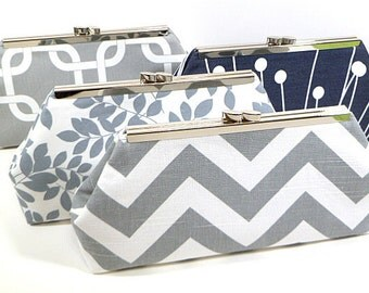 Bridesmaids Clutches Choose Your Fabric Grey Set of 5