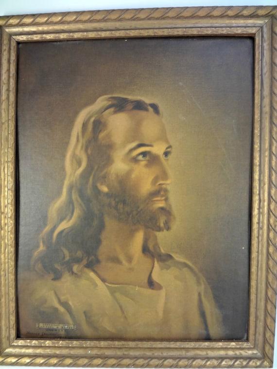 Sallman Litho Head Of Christ 1941 In Original Frame By