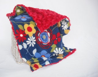 Flower Travel Blanket with Red Minky Swirl - Flower Security Blanket - Lovey - Minky Security Blanket - Fleece Lovey - Doll Blanket