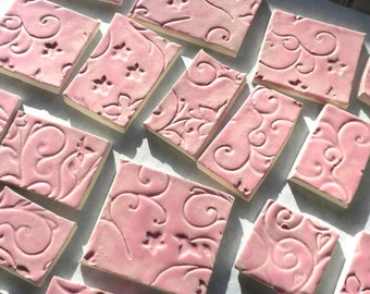 IMPERFECT - Pink Swirls and Vines - 31 Handmade Ceramic Tiles for Mosaics - DISCOUNTED