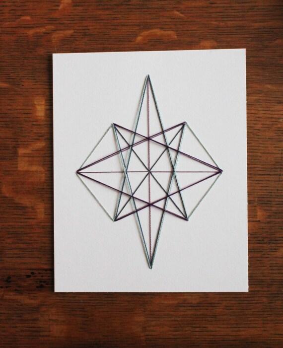 Modern Embroidery Geometric Pattern Diamond Shape