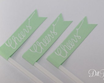 Spearmint - Mint Green Flag with Calligraphy Cheers Cocktail Stirrers or Drink Stirrers - 50 ct