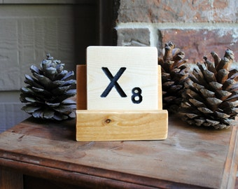 Letter X Carved Wood Oversized Tile Coaster - Hand Painted