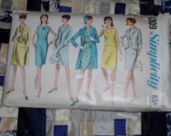 "Vintage 1965 Simplicity Coat, Dress, Top, Skirt and Jacket Pattern 6309 Sz 16, Bust 36"", Waist 28"", Hip 38"""