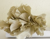 Handmade silk flower headband in olive green for bridesmaid, bride, wedding and special occasions