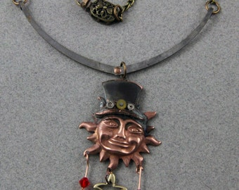 Steampunk Happy Sun In A Top Hat Handmade Necklace