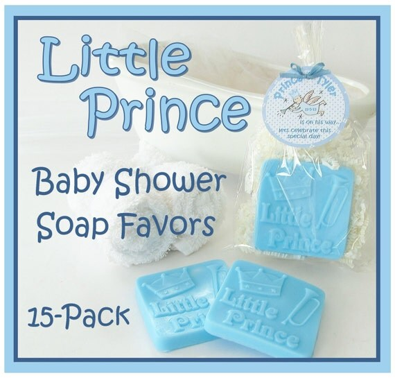 Prince Baby Shower Favors: 15 LITTLE PRINCE Blue Boy Baby Shower Soap Favor Pack