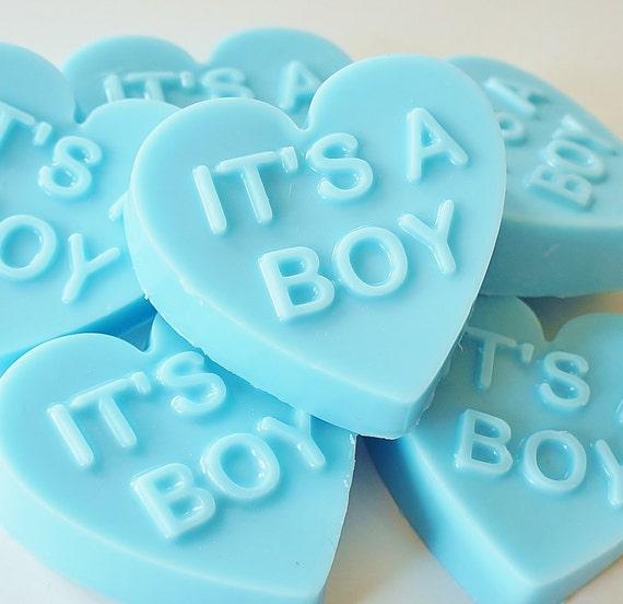 IT'S A BOY Blue Baby Heart Soap - handmade, glycerin, scented, kids, fun, custom party favors