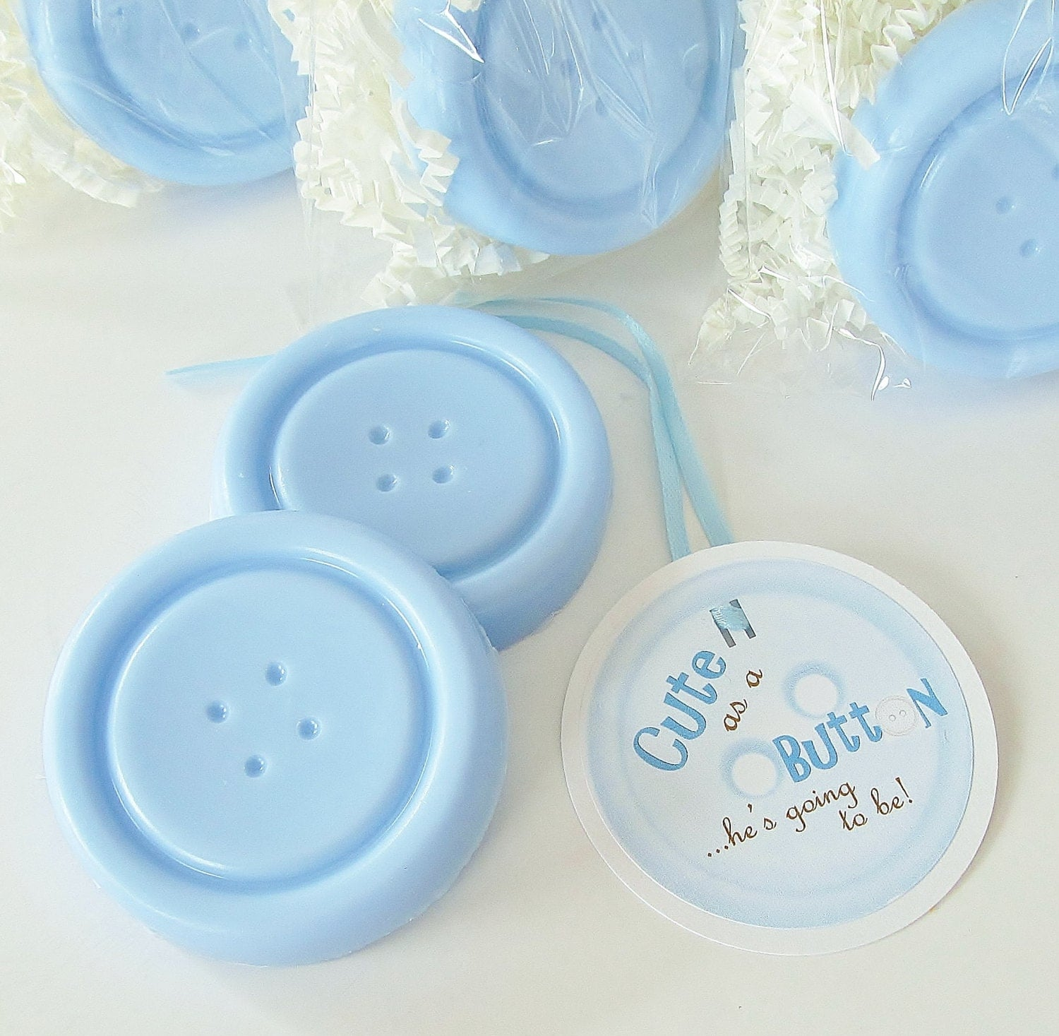 15 Cute As A Button Blue Boy Baby Shower Soap Favor Pack