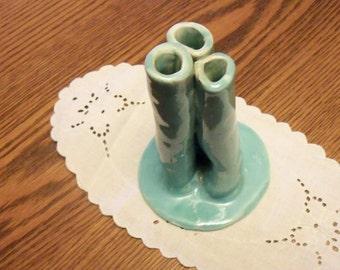 Freeform 3-section vase, vintage ceramic, aqua