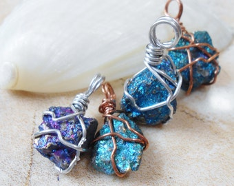 One Mini/Petite Chalcopyrite (Peacock Ore)/ Bornite Raw Stone Aluminum/Copper Wire Wrapped Pendant.  Select your Favorite