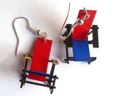 Red and Blue Miniature Chair Earrings - ModStripes