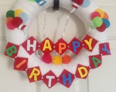 Happy Birthday Yarn Wreath  -12 IN Wreath-Ready to Ship