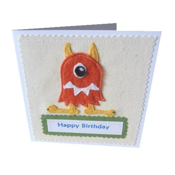 Monster applique textile Birthday card