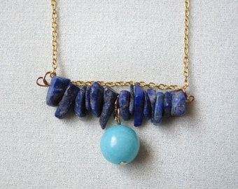 Navy Blue Kyanite and Mint Green Amazonite Organic Mineral Stone Necklace with FREE SHIPPING