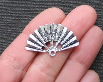 5 Fan Charms Antique  Silver Tone 2 Sided - SC2143
