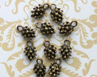 12 Pine Cone Charms Antique Bronze Tone 3D Too Cute - BC512